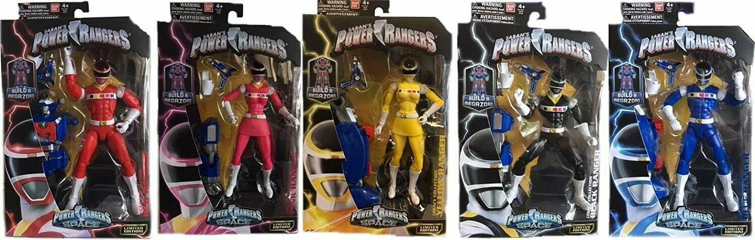 "Legacy Power Rangers in Space 6.5"" Red, Pink, Yellow, Black & Blue Ranger Action Figure Bundle"