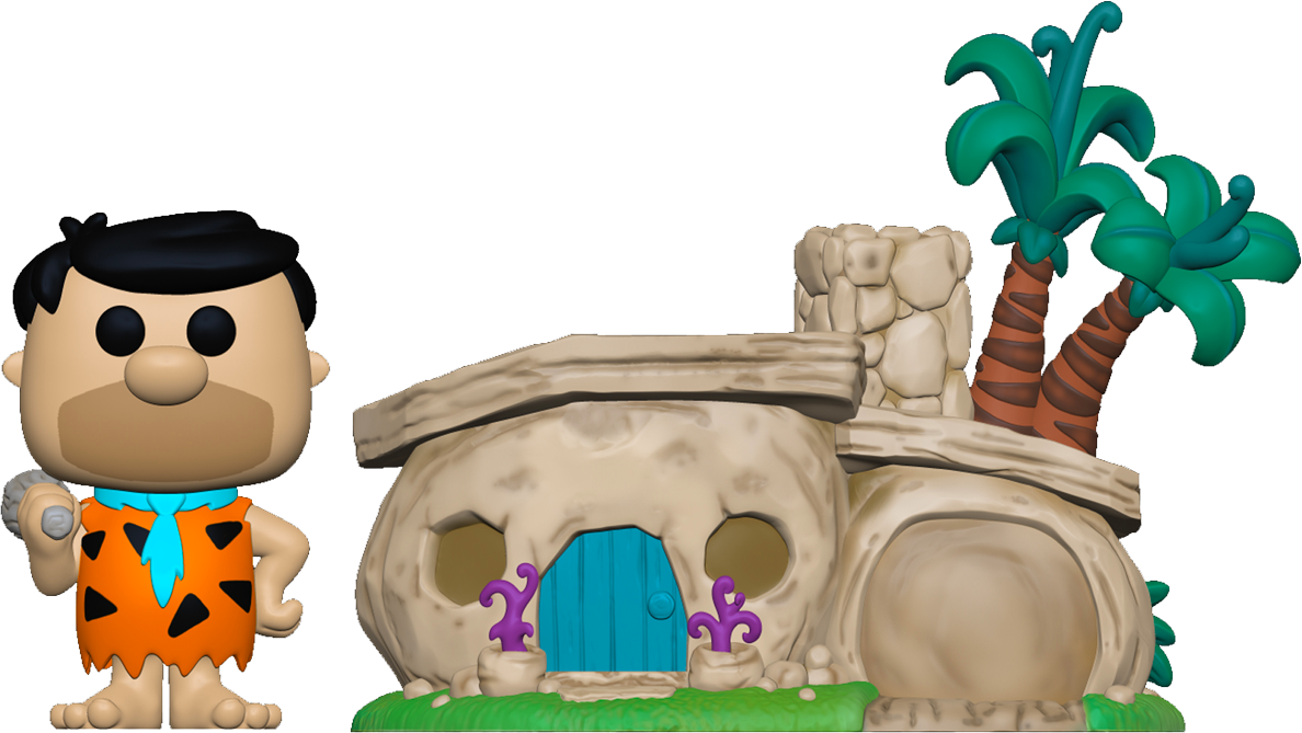 The Flintstones - Fred Flintstone with Flintstone's Home Pop! Town Vinyl Figure