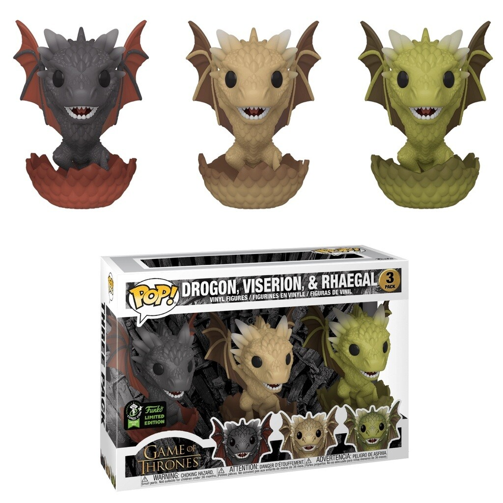 Game of Throne- Drogon, Viserion, & Rhaegal (Hatching 3-Pack) Pop! Vinyl ECCC 2020