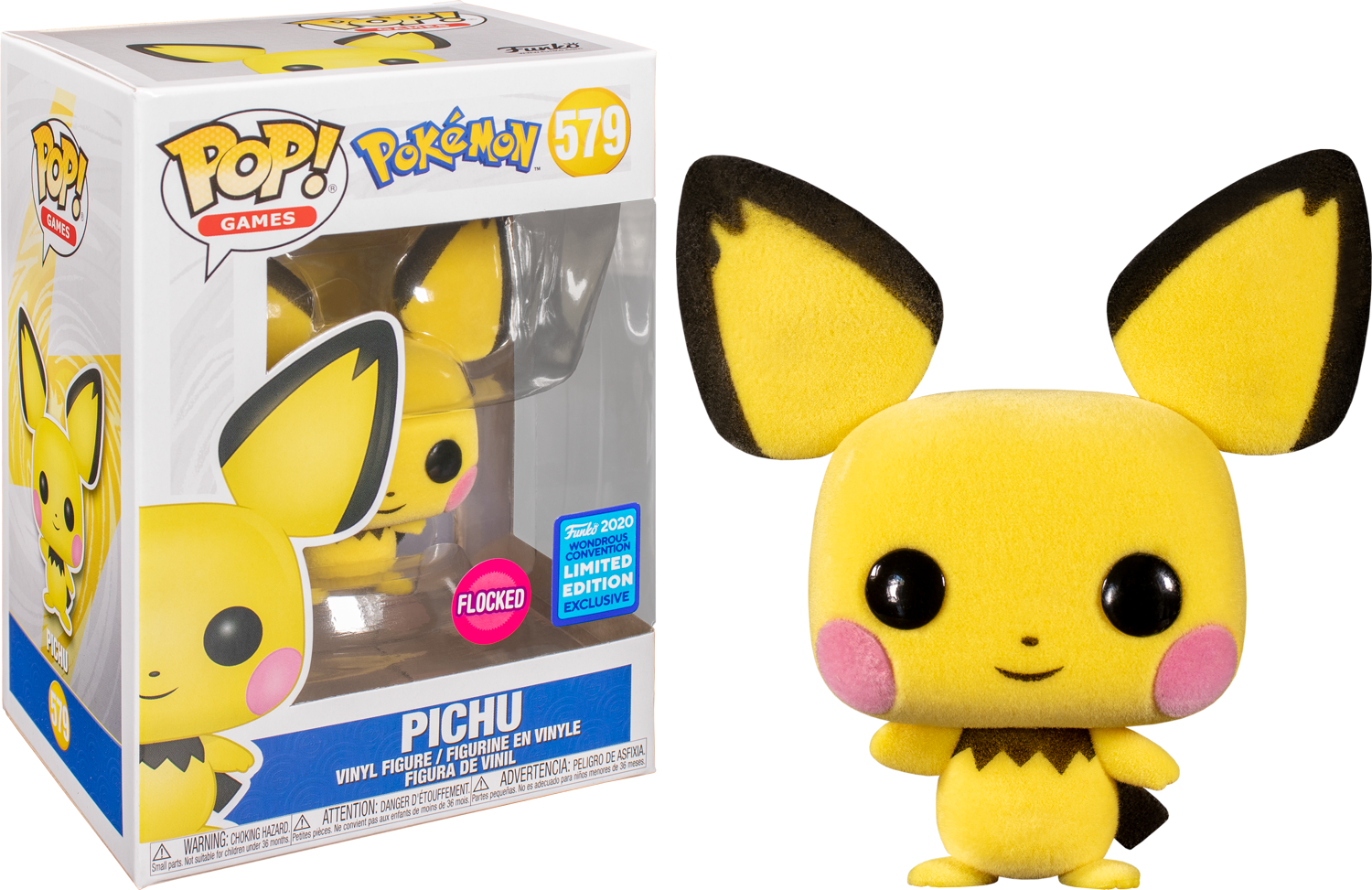 Pokemon - Pichu Flocked Pop! Vinyl Figure (2020 Wondrous Convention Exclusive)
