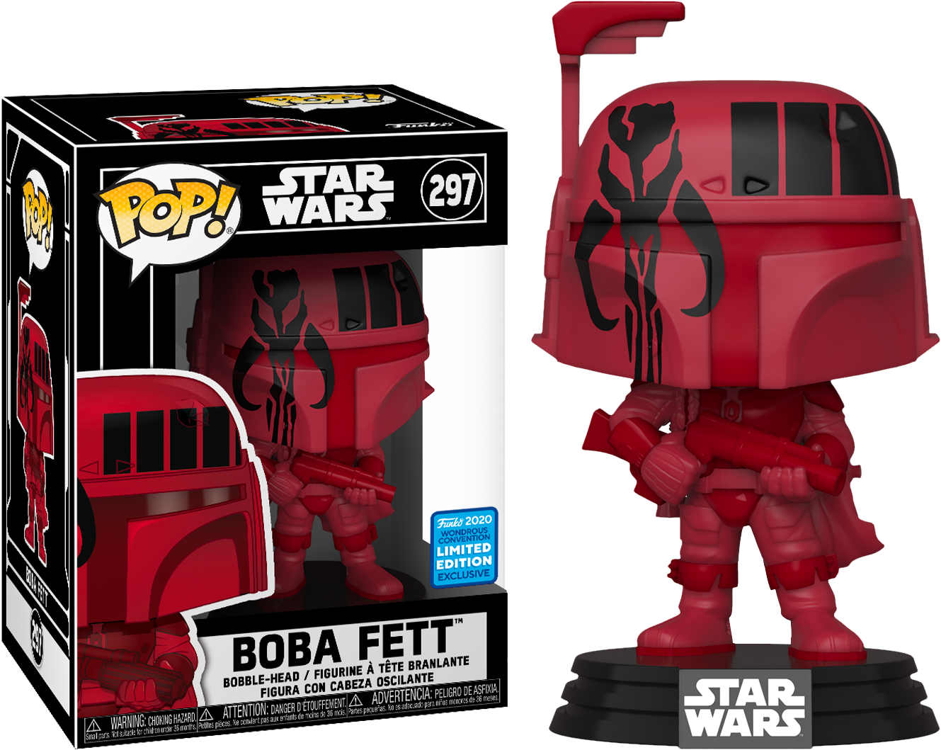 ​Star Wars - Boba Fett with Mandalorian Symbol Pop! Vinyl Figure in Pop! Protector (2020 Wondrous Convention Exclusive)