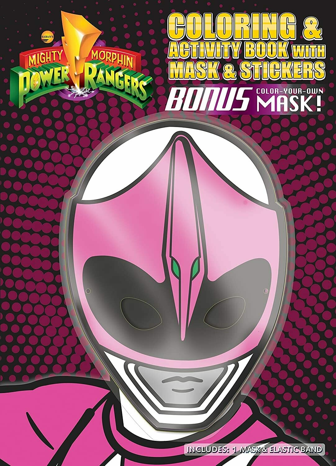 Activity Bundles Children's Pink Ranger Mask with Matching Coloring Book
