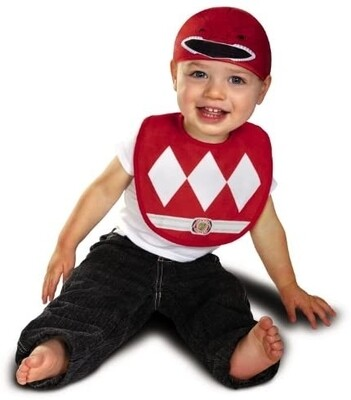 Baby Power Rangers Mighty Morphin Red Ranger Infant Bib and Hat Costume