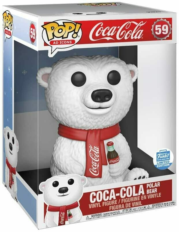 "Funko Coca Cola Polar Bear Super Sized 10"" POP Vinyl Figure- Funko Limited Edition"
