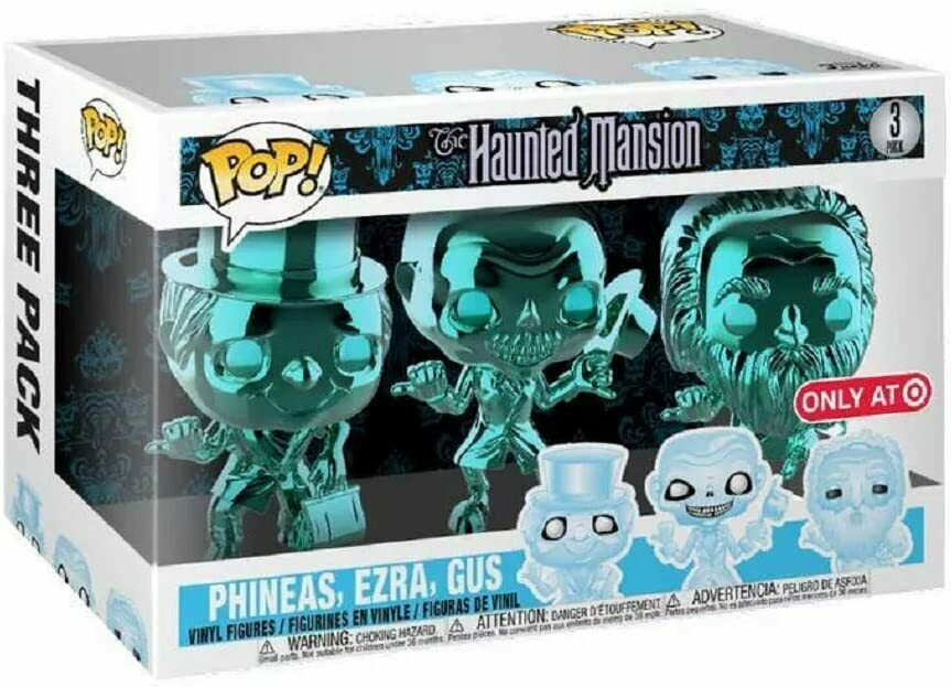 The Haunted Mansion 3 Pack Teal Metallic Chrome, Phineas, Ezra, Gus Pop Vinyl Exclusive
