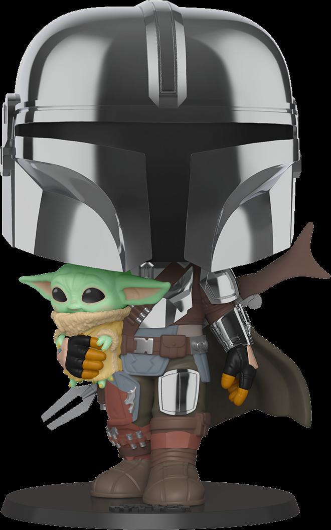 "Star Wars: The Mandalorian – The Mandalorian Chrome Armour with The Child 10"" Pop! Vinyl Figure"