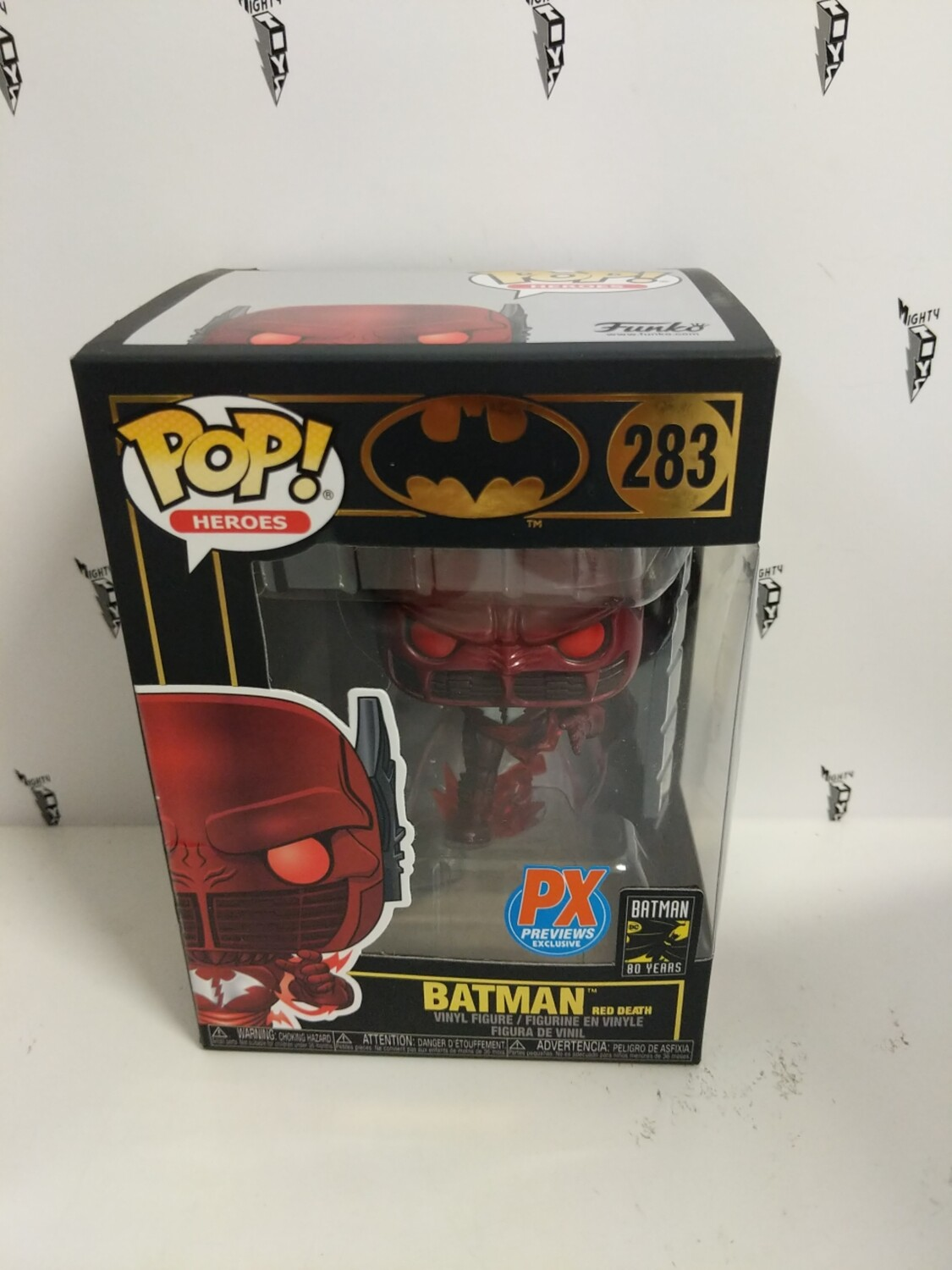 Batman: Red Death Batman Pop Vinyl Figure (PX Sticker) (box damaged)-a