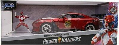 Power Rangers Red Ranger & 2009 Nissan GT-R R35 Ben Sopra 1:24 Die - Cast Vehicle with Figure