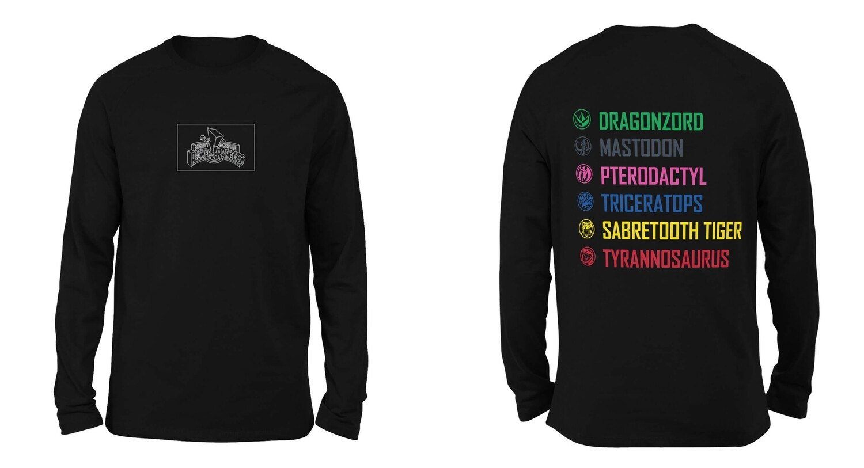 Mighty Morphin Power Rangers Unisex Long Sleeve T-Shirt - Black