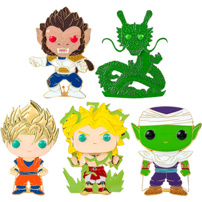 "​Dragon Ball Z - Series 01 4"" Pop! Enamel Pin Assortment (Set of 5) Including Chase Shenron"