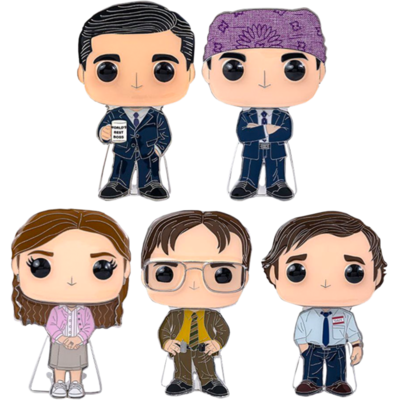 """The Office - Series 01 4"""" Pop! Enamel Pin Assortment (Set of 5) Including Chase Prison Mike"""