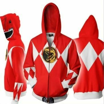 Mighty Morphin Power Rangers Jumper Zip Up Hoodie