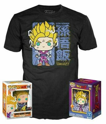 Funko Pop! Tees- Dragonball Z- SS2 Gohan Glow in the Dark Pop! Vinyl Figure (Gamestop Sticker)