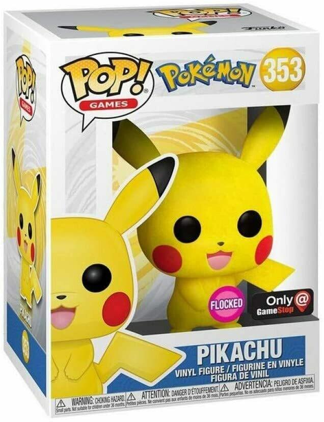 Pokemon - Pikachu (Flocked) Pop! Vinyl Figure (Gamestop Sticker!)