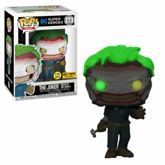 DC Super Heroes- The Joker (Death of the Family) (Glow in the Dark) Pop! Vinyl Figure- Hot Topic Exclusive Sticker- Box Damaged