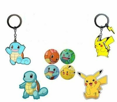 Pokemon Keyring, Pin badge, Sticker