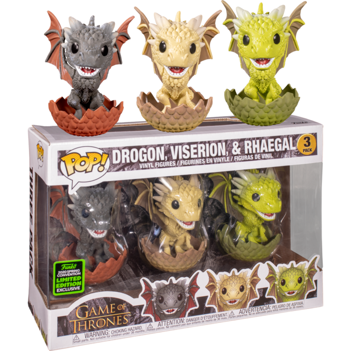 ​Game of Thrones - Drogon, Rhaegal & Viserion in Eggs Pop! Vinyl Figure 3-Pack (2020 Spring Convention Exclusive)