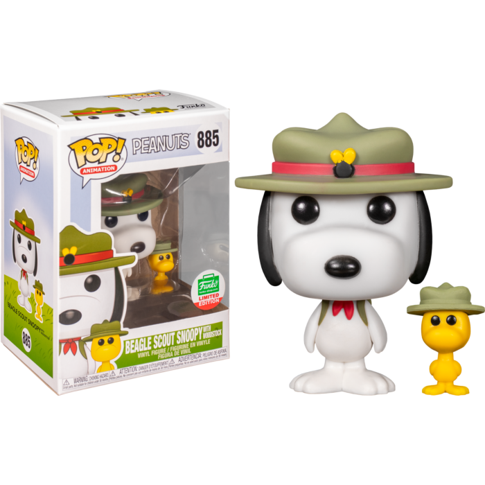 Peanuts - Beagle Scout Snoopy with Woodstock Pop! Vinyl Figure (2020 Funko Holiday Exclusive)