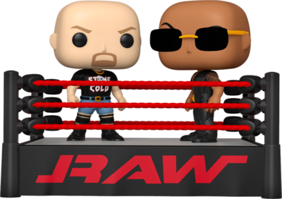 Pre-Order: WWE - The Rock vs Stone Cold with Wrestling Ring Moments Pop! Vinyl Figure 2-Pack