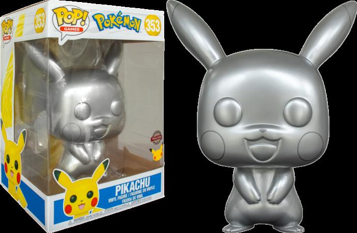 "Pokemon - Pikachu Silver Metallic 25th Anniversary 10"" Pop! Vinyl Figure"