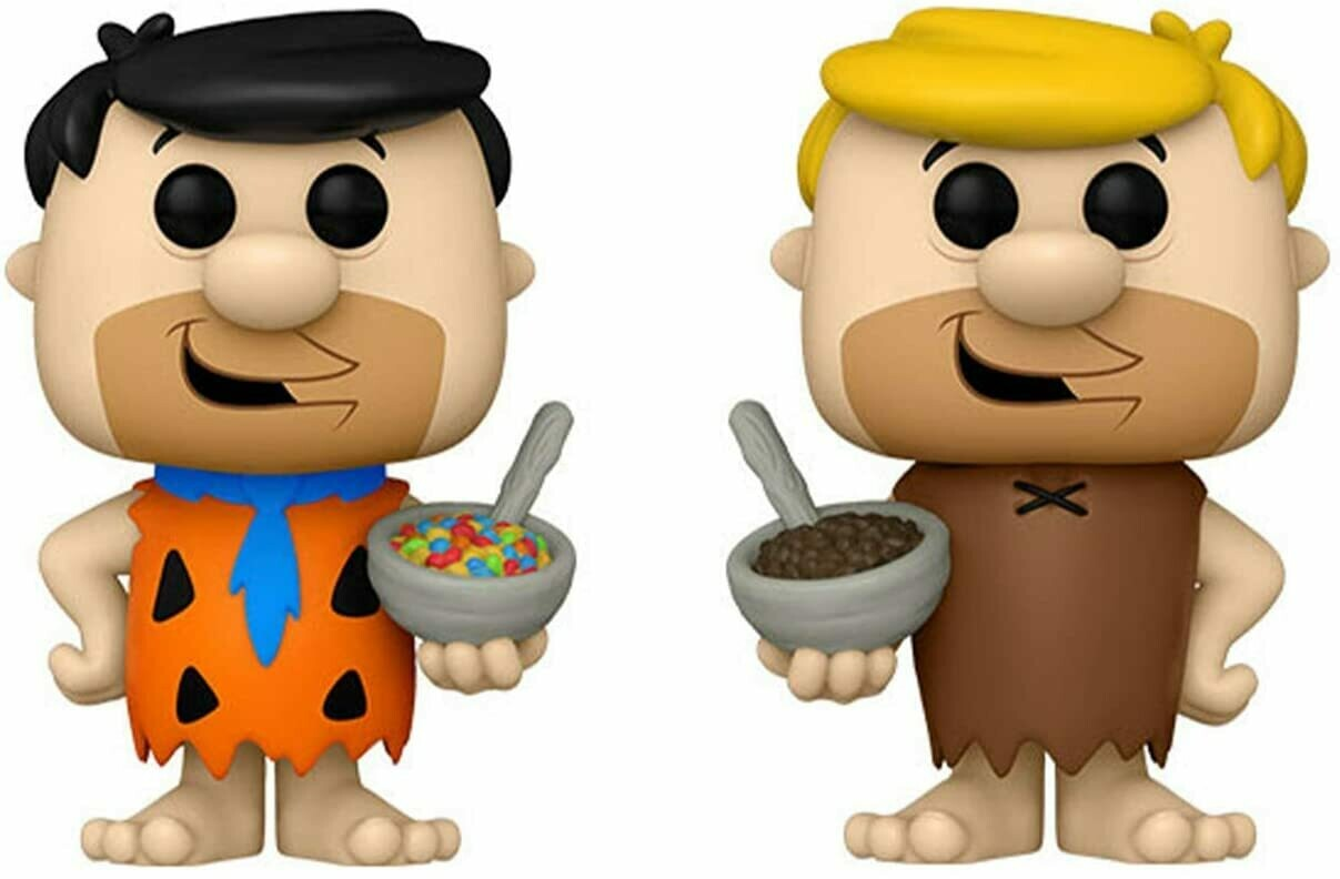 Funko Ad Icons- The Flintstones Cereal: Fred with Cereal and Barney with Cereal Pop! Vinyl Figure(Bundle of 2)