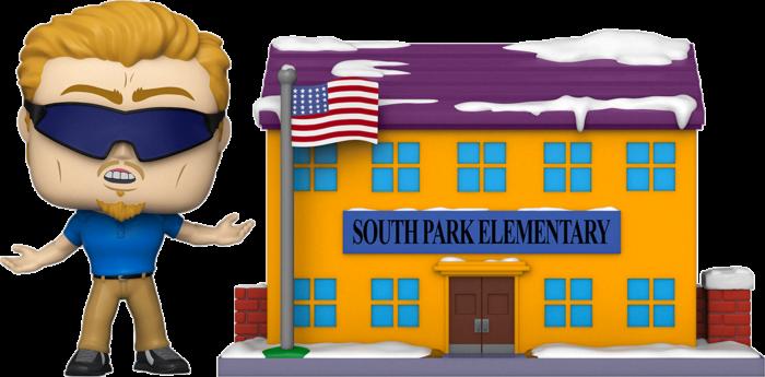 Pre-Order: South Park - PC Principal with South Park Elementary Pop! Town Vinyl Figure