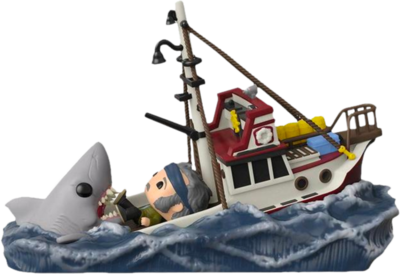 Pre-Order: Jaws - Great White Shark Eating Quint & Orca Boat Movie Moments Pop! Vinyl Figure