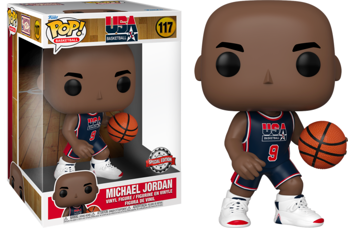 "Pre-Order: NBA Basketball - Michael Jordan 1992 Team USA Blue Jersey 10"" Pop! Vinyl Figure"