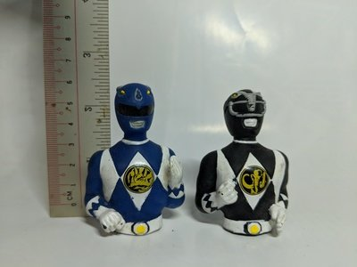 Mighty Morphin Power Rangers Blue and Black Ranger topper