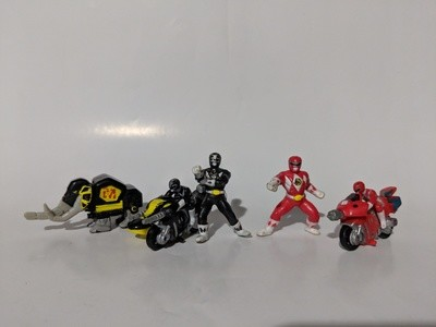 Mighty Morphin Power Rangers mirco machines red and black ranger
