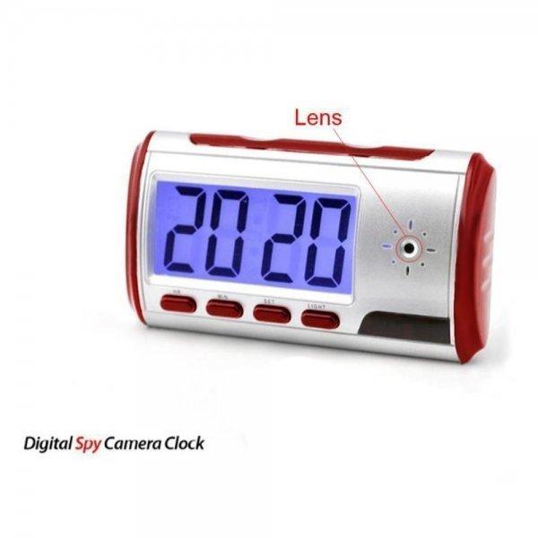 Digital Spy Alarm Clock with Hidden Camera + Motion Sensor Red