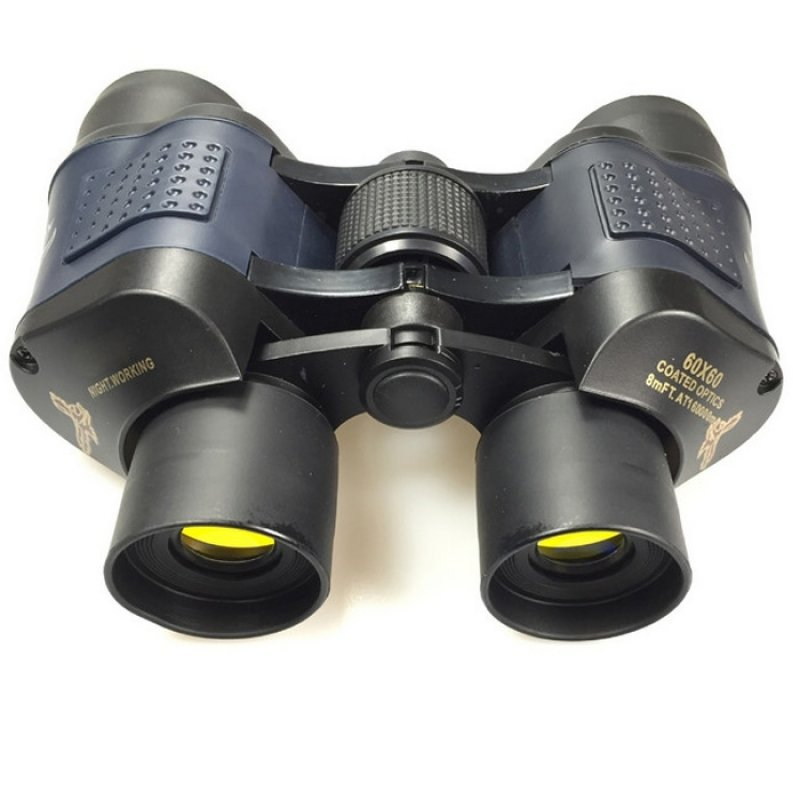 60X60 HD 3000M Observation Optical Green Film Binoculars - Black