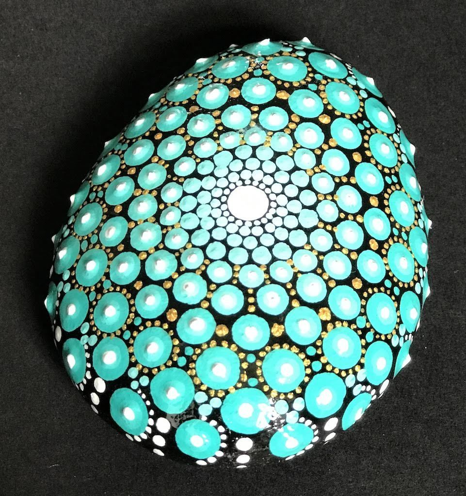 Beautiful Blue Teal Rock Mandala Dot Art Home Decor Unique Gift Store The Phd Mama