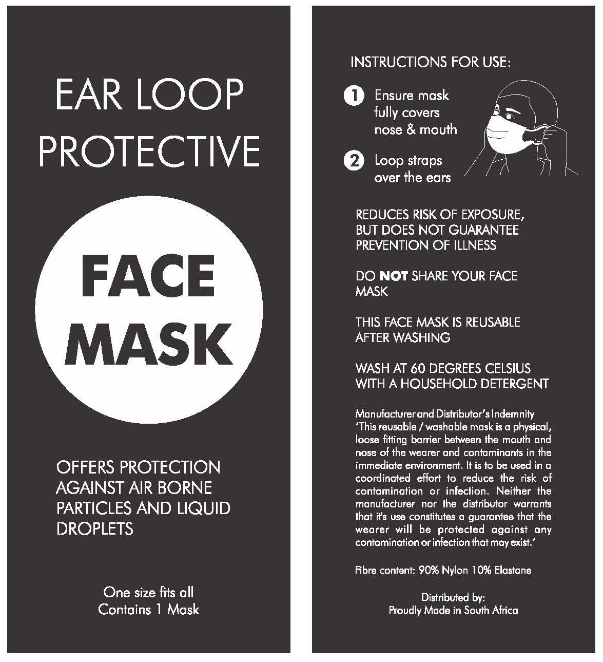 Protective Face Mask - 2,500 units - single mask per pack