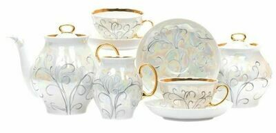 Сервиз чайный 15 предметов Белый лебедь Морозко с975