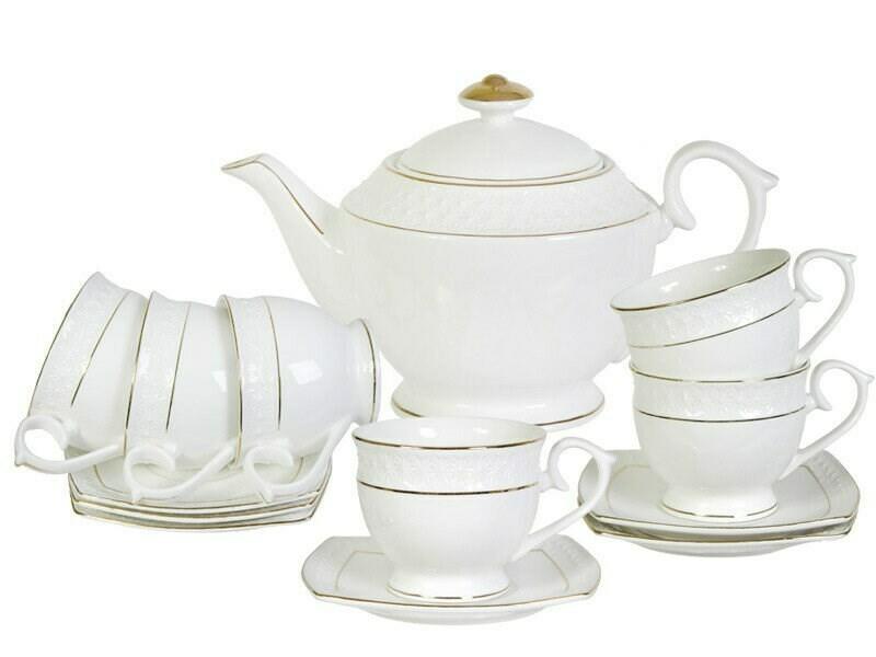 Сервиз чайный 13пр Бел с зол квадр бл, чашка 260мл ВК-6842
