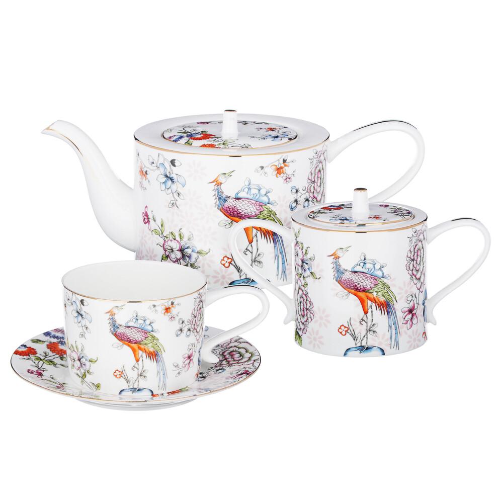 Райская птица Набор чайный 14 пр., чашка 270мл, костян. фарф. 802-005