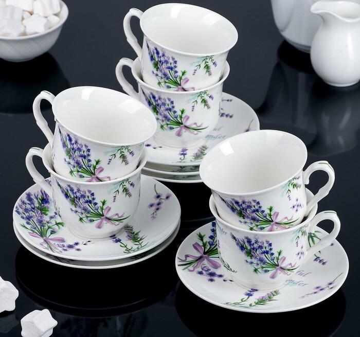 Сервиз чайный Доляна «Лаванда»,12 предметов, 220 мл, 3801260