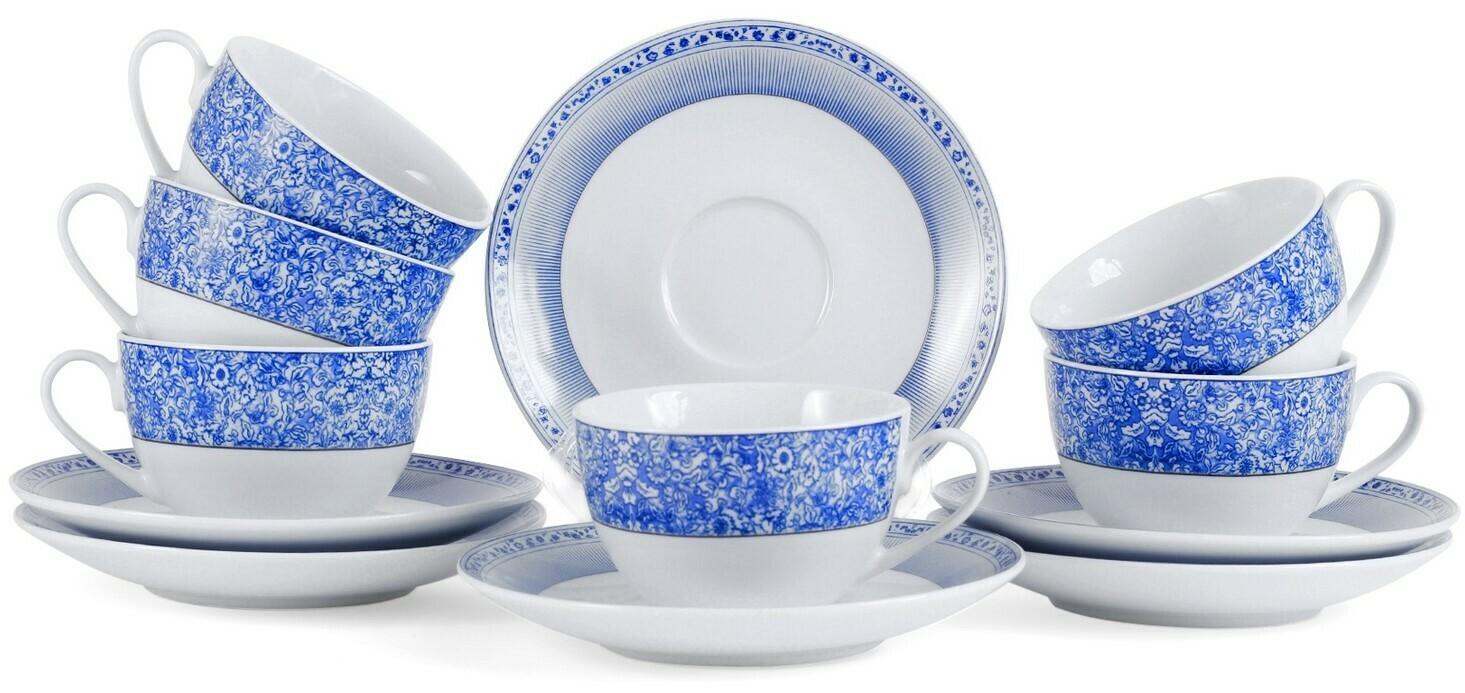 """Сервиз чайный """"Лазурь"""" из керамики, 12 предметов, ПКГ106239"""