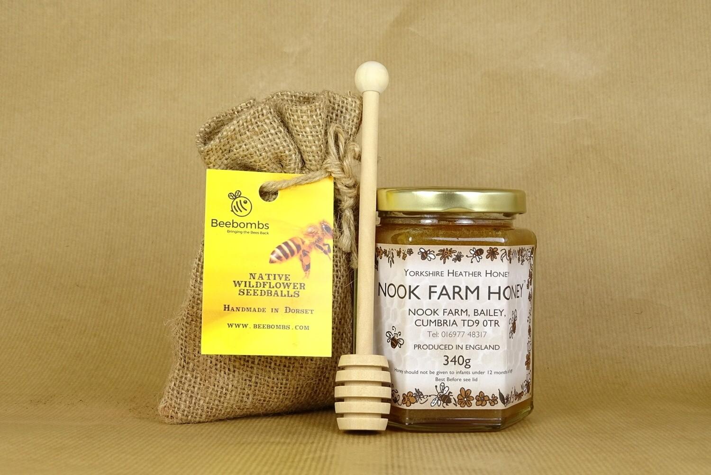 Bundle - Yorkshire Heather Honey 340g, Beebomb & Honey Drizzler