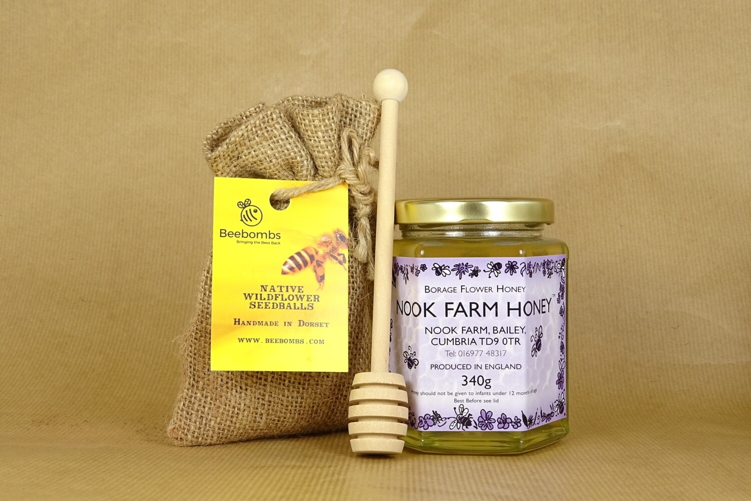 Bundle - Borage Honey 340g, Beebomb & Honey Drizzler