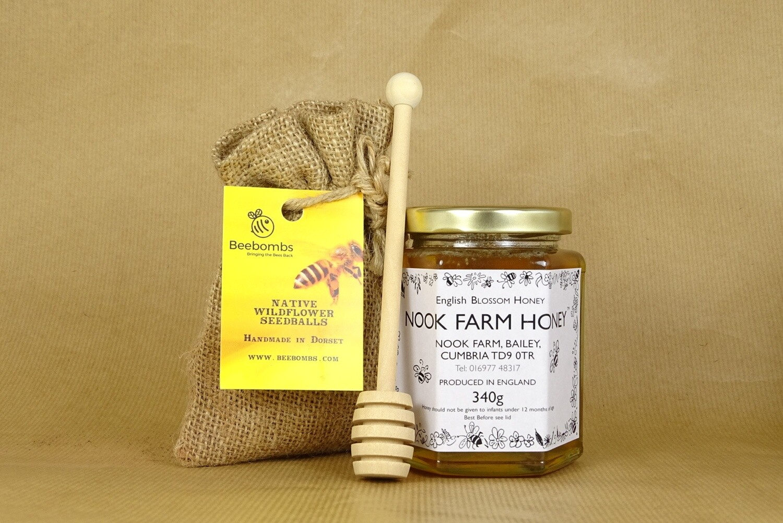 Bundle - English Blossom Honey 340g, Beebomb & Honey Drizzler