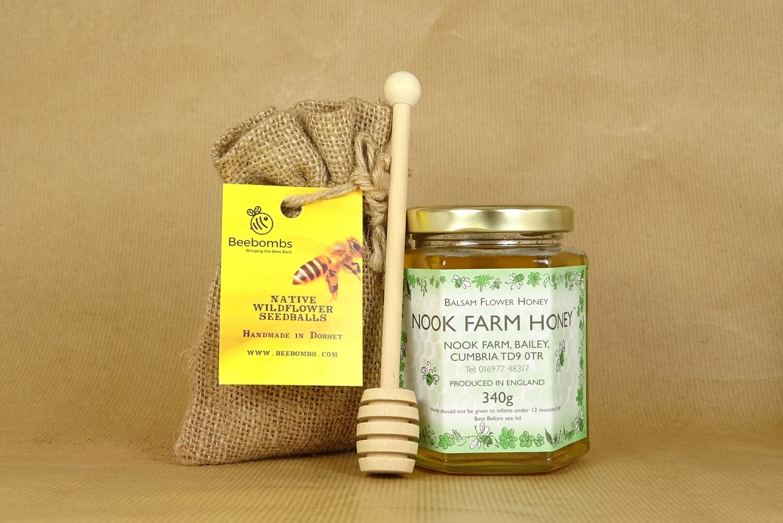 Bundle - Balsam Flower Honey 340g, Beebomb & Honey Drizzler