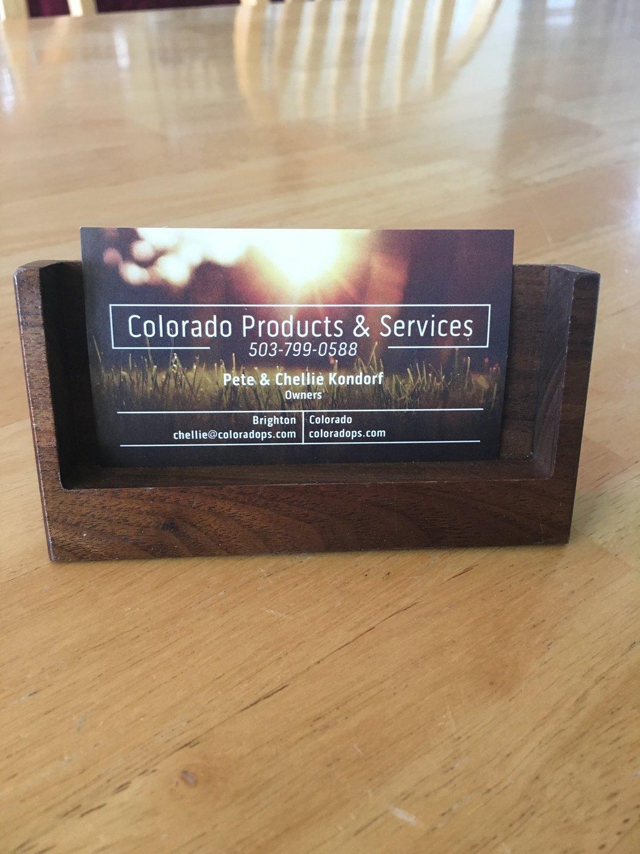 Tilted Wood Business Card Holder