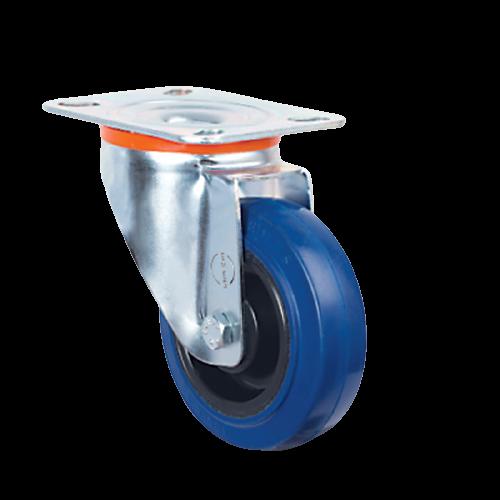 100mm Blue Elastic Castor - Plate Fitting