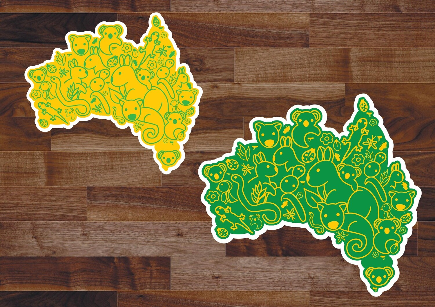 Animals of Australia Green and Gold Stickers
