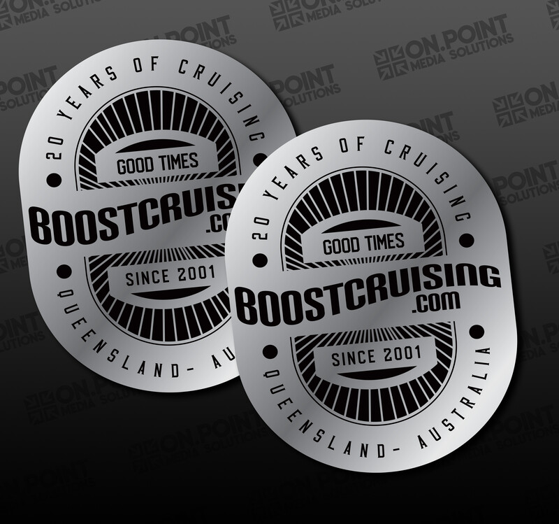 Boost Cruising 20 Year Anniversary Silver Sticker Twin Pack