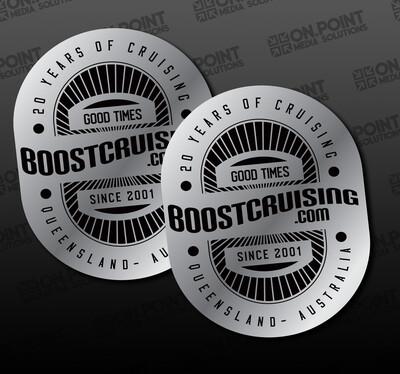 Boost Cruising 20 Year Anniversary Silver Sticker Twin Pack