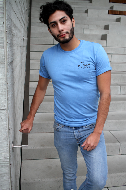 Sky Blue Unisex Peace Fitted T-Shirt