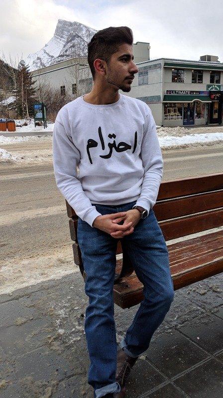 White Unisex Respect Crewneck Sweater